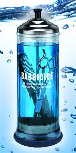 Barbicide szklany pojemnik znany na całym świecie